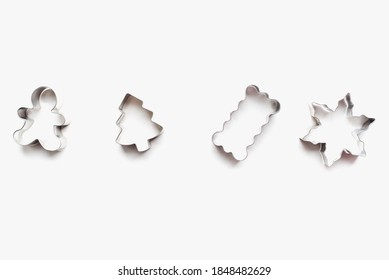 cookie cutters for homemade cookies, cookie cutters, metal cookie cutter on white background