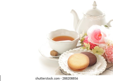 Cookie and english tea with copy space