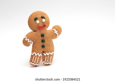 Cookie gingerbread on white background with free space.