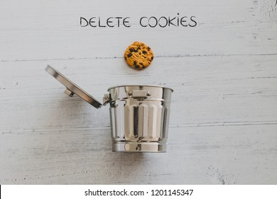 cookie going into a trash can with Delete text, metaphor about website cookies and user tracking technologies