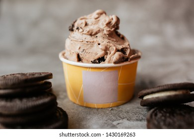 Cookie ice cream on rustic background