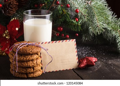 Cookie with milk and letter for Santa Claus