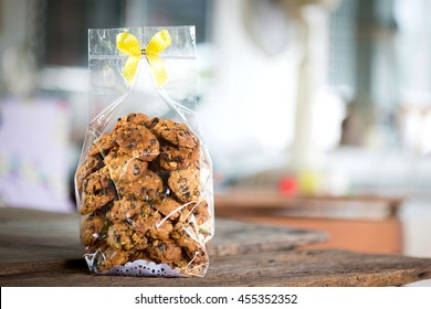 Cookie in plastic bag with ribbon bow tie,copy space.