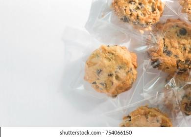Cookie in plastic wrap packaging.