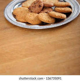 Cookie plate on a wooden table.
