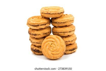 cookie sandwich on white background
