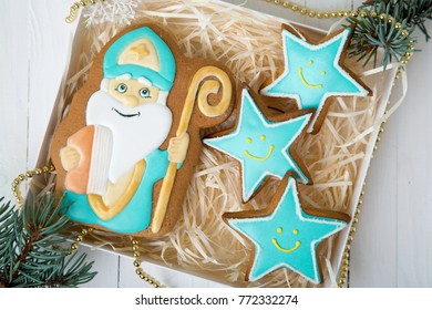 Cookie St. Nicholas. Christmas trees Cookies. Spiced shortcrust biscuit, traditionally baked before St Nicholas' feast in the Ukraine, Netherlands, Belgium and France and around Christmas in Germany.