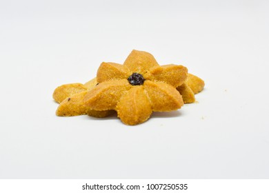 The cookie top with a rasin coffee flavor like flower on white background
