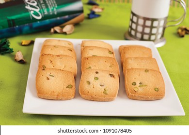 Cookies are a baked food that is small, flat and sweet. It usually contains flour, sugar and some type of oil or fat. It may include other ingredients such as raisins, oats, chocolate chips, and nuts.