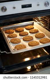 Cookies are baked in the oven