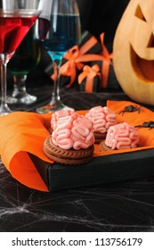 cookies with a brain in a box of marzipan on Halloween