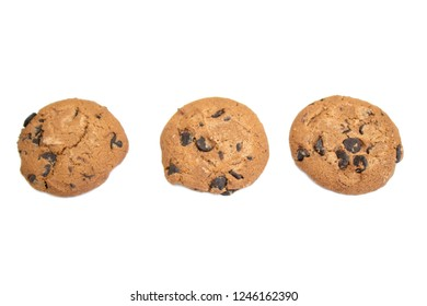 Cookies, Chocolate chip cookie isolated on white background