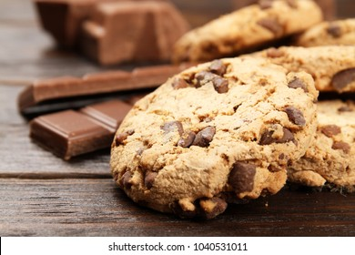 Cookies with chocolate chips close-up