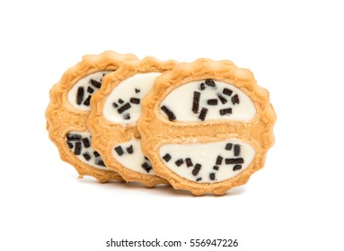 cookies with chocolate glaze on a white background