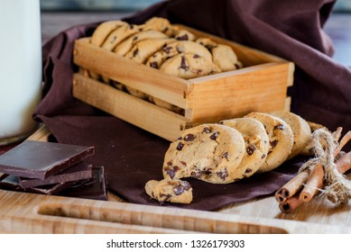 cookies with chocolate and milk for breakfast closeup