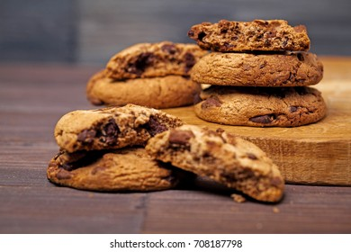 cookies with chocolate wood table