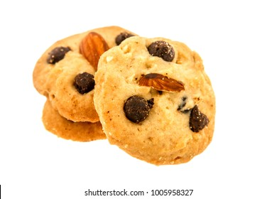 Cookies with chocolete chip and almond isolated on white background.