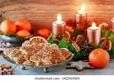 Cookies in Christmas tree shape.