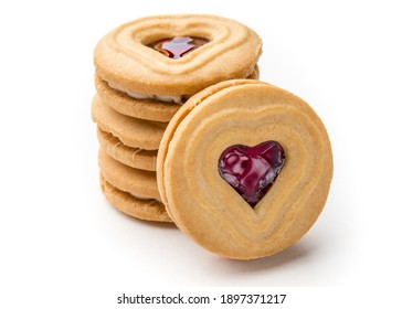 Cookies. Cookie Hearts shape Red jam or strawberry jelly inside biscuit cookie. Homemade baking. Sweet bakery. Top view on white background. - Shutterstock ID 1897371217