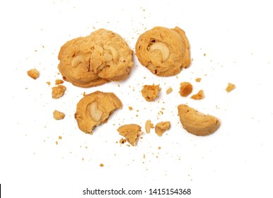 cookies crack on white background
