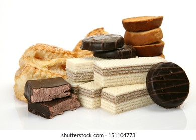 Cookies and crackers on a white background