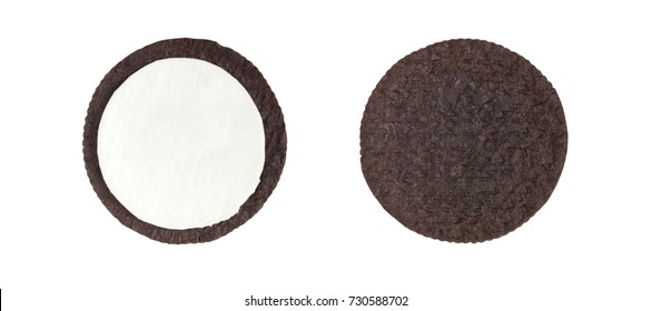 Cookies and cream close-up shot of inner side of milk cream filling and crust (no trademark or brand) isolated on white background (Clipping path included)