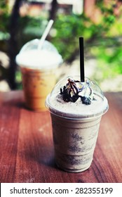 cookies and cream frappe with ice cappuccino coffee