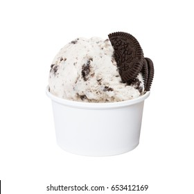 Cookies and cream ice cream in white cup isolated (clipping path included), close-up shot