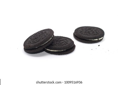 Cookies and cream isolated on white background blur