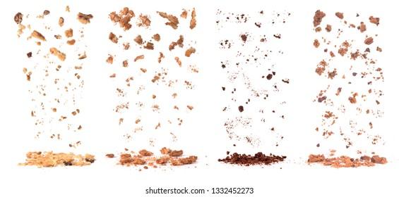 cookies crumbs set isolated