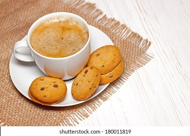cookies and cup of coffee close up