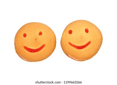 Cookies in the form of an emoticon on a white background
