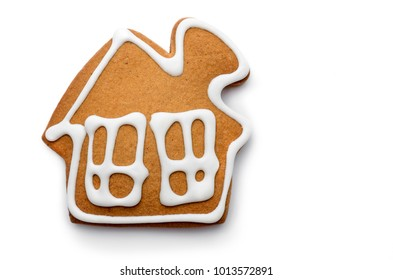 Cookies in the form of a house on white background