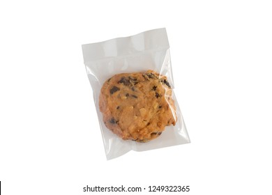 Cookies homemade in plastic wrap package isolate on white background.