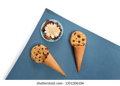 cookies and ice cream cone, blue background