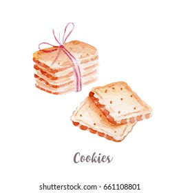 cookies illustration. Hand drawn watercolor on white background.