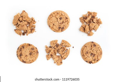 cookies isolated on white background. Sweet biscuits. Homemade pastry.