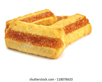 cookies with jam on a white background