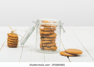 Cookies in jar. Small depth of field and selective focus.