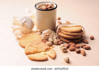Cookies with nuts on table