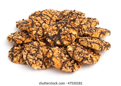 Cookies with nuts on a white background