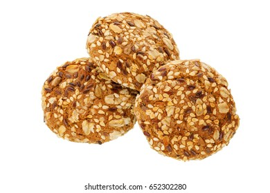 Cookies. Oatmeal cookies with sesame seeds and wholegrain isolated on white background