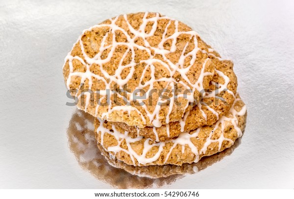 Cookies on reflective background.