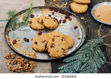 Cookies on the wooden table. Selective focus and small depth of field.