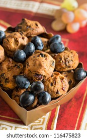 Cookies with raisins and chocolate in box
