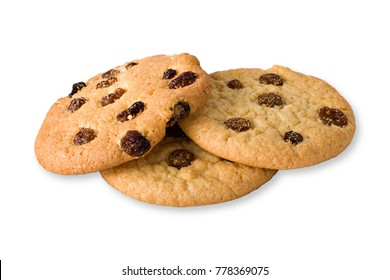 Cookies with raisins. On a white background. Isolated