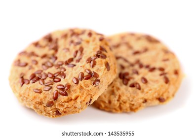 Cookies with sesame seeds isolated on the white background