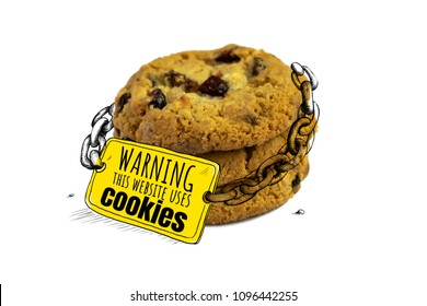 Cookies with a sign: Warning this website uses cookies. Humorous illustration for a print, banner. Concept: protection of personal information