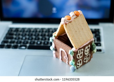 cookies small house on the laptop