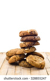 Cookies stack on wooden table